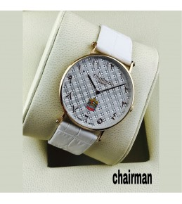Chairman Watches-dotted white dial & Strap with golden frame