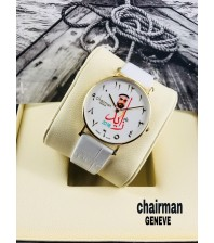 chairman year 2018 white dial with red logo